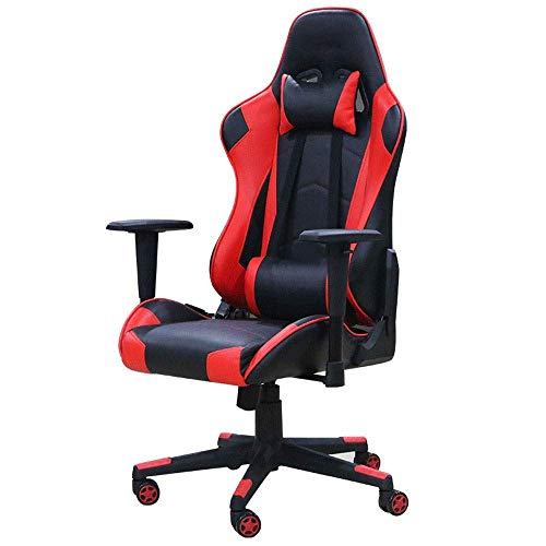 WSDSX Office Chairs Adjustable Computer Chair with Massage Lumbar Support Swivel Chair with Racing Style Armrest PU Leather High Back (Color : A)