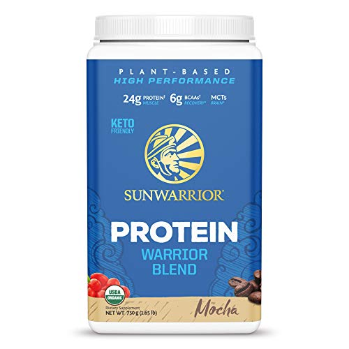 Sunwarrior - Warrior Blend - Plant Based Raw Vegan Pea Protein Powder with Hemp Protein and MCTs from Coconut - Mocha - 750g