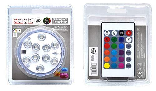 Delight LED onderwaterlamp - 10 LED met afstandsbediening - 15 kleuren + kleurwisselfunctie - werkt op batterijen (3xAAA - niet bij levering inbegrepen)