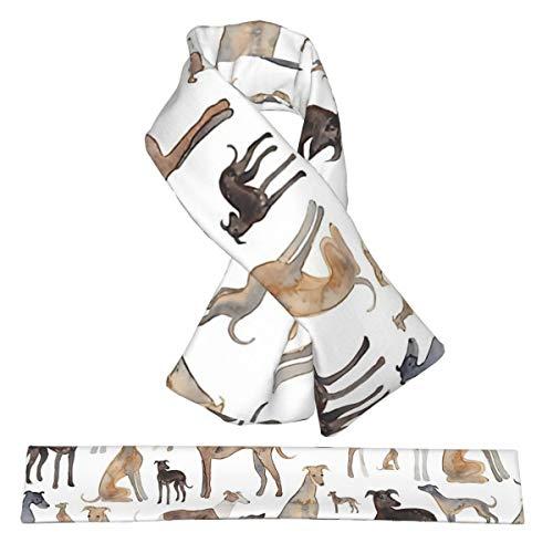 Bufanda cruzada de galgos Wippets and Lurcher Dogs Franela, bufandas de cuello de felpa, doble cara, suaves y livianas, para mujeres, hombres y adolescentes