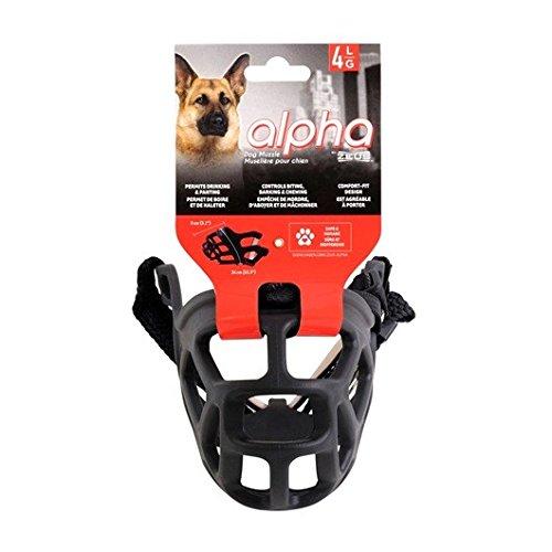 Zeus Alpha TPR mand voor honden, Comfort Fit design, voorkomt bijten, bellen en kauwen, zwart, Large, zwart