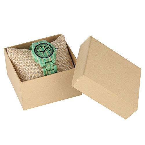 RWJFH Reloj de Madera Novedoso Reloj de Madera Verde para Mujer, Relojes Informales de Cuarzo para Mujer, Brazalete de Madera, Elegante Reloj de Pulsera de Moda, con Caja