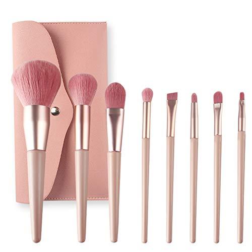 Make Up Pinsel Set,8 Stück Professionelles Kosmetikpinsel Schminkpinsel Lidschattenpinsel Augenpinsel Lippenpinsel mit Leder Tasche Kosmetiktasche