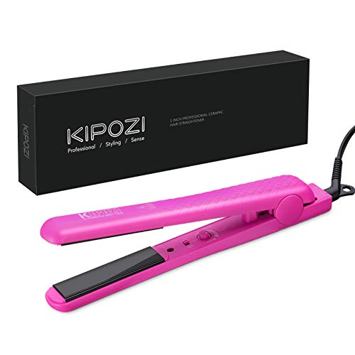 KIPOZI 1 Inch Hair straightener Ceramic Flat Iron for Hair with Adjustable Temp Straightens and Curls All Hair Types, Dual voltage, 170℉-450℉ Hot Pink