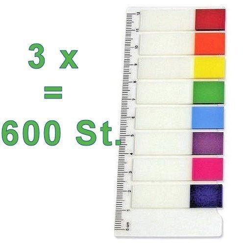 3x Film-Pagemarker Haftmarker = 600 Blatt (24 x 25 Blatt) zum Beschriften/Markieren