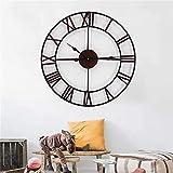 FXBFAG Reloj de Pared, números Romanos Mute Retro Relojes de Pared Sala de Estar Dormitorio Decoración Reloj 47cm Metal Redondo Hierro Arte Reloj de Pared Reloj de Pared
