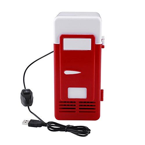 USB Mini Kühlschrank Elektrische Getränkedosen Kühler Wärmer Kühlschrank mit LED-Licht für Office Desktop PC Auto(Rot)