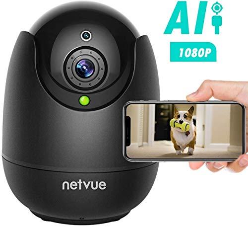 NETVUE Cámara de Vigilancia 1080P WiFi Interior Compatible con Alexa Echo Show, Camara WiFi con Completo Debe IR de Alerta de detección Humana para beby/Elder/Pet/Nanny Monitor, Negro