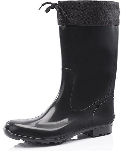 Ladeheid Botas Antideslizantes en PVC Mujer LA-968 (Negro/Negro, 38 EU)