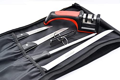 Set de Corte Profesional Arcos para jamon con cuchillo jamonero + chaira + pinza + afilador + cuchillo corte Maitre 105 MM + cuchillo deshuesador + bolsa de transporte LepantoHouse
