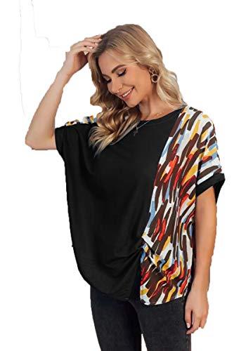 SLYZ 2021 Camiseta De Cuello Redondo De Verano para Mujer Blusa Suelta De Costura con Estampado De Moda