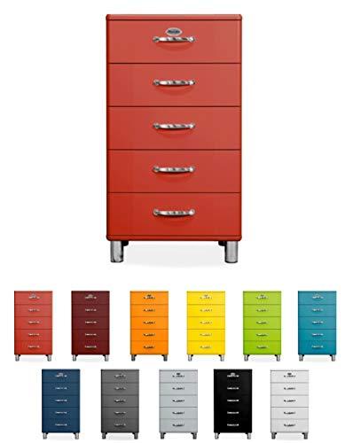 Tenzo Malibu Designer Chiffonnier avec 5 Tiroirs, Panneaux de Particules & MDF, Rouge, 60 x 41 x 111 cm