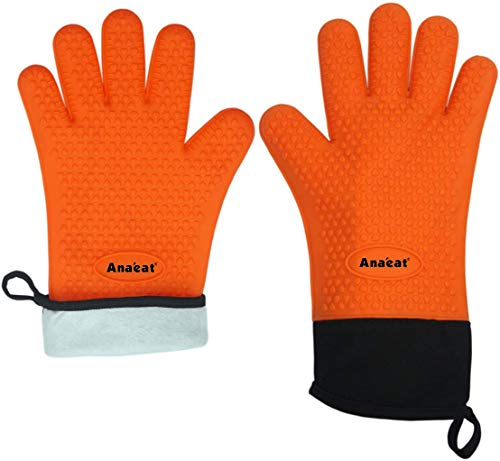 BBQ Grilling Gloves, Best Flexible Versatile Cooking Gloves-100% Cotton Lining Heat Resistant Silicone Oven Mitts, Waterproof Potholder for Barbecue, Baking-Thick Long Wrist Protection (Orange)