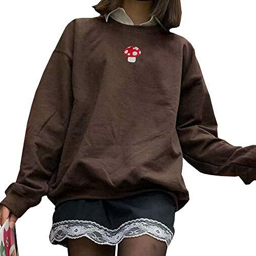 Women Y2K Sweatshirt Oversized Crewneck Long Sleeve Pullovers Tops Vintage E-girl 90s Hoodies Streetwear