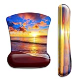 Keyboard Wrist Rest Pad and Ergonomic Mouse Pad with Wrist Support Gel Set, Non-Slip Rubber Base, Cute Mouse Pad for Easy Typing & Pain Relief, for Gaming, Computer, Office -Sunset Beach …