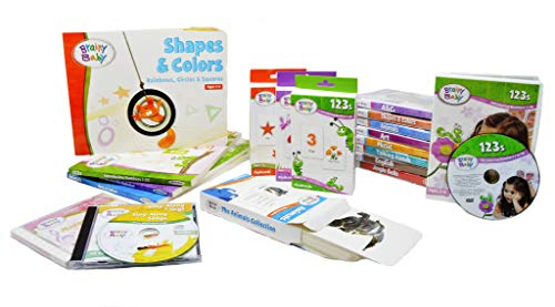 Brainy Baby Teach Your Child All In 1 Preschool Learning for a Lifetime System DVDs, Books, Flash Cards and CD Collection 9 Subjects