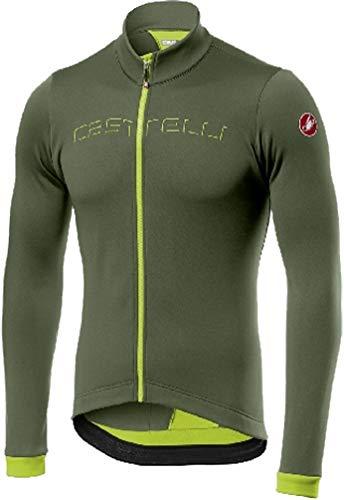 CASTELLI Fondo Jersey FZ Camiseta Hombre, Hombre, Camiseta, 4517511, Military Green Yellow Fluo, S