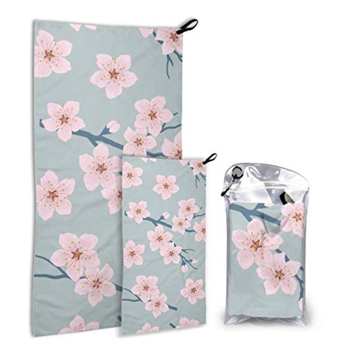 N\A Romantique Sakura Pink Flora 2 Pack Microfibre Outdoor Sport Towel Womens Beach Serviette Set Fast Drying Best for Gym Travel Backpacking Yoga Fitnes