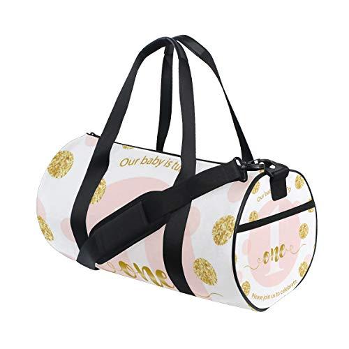 ZOMOY Sporttasche,Niedliche Baby erste Geburtstags Karte golden,Neue Druckzylinder Sporttasche Fitness Taschen Reisetasche Gepäck Leinwand Handtasche