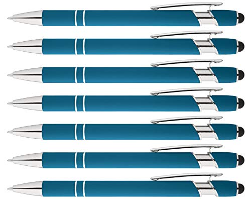 Rainbow Rubberized Soft Touch Ballpoint Pen with Stylus Tip is a stylish, premium metal pen, black ink, medium point. Box of 7 (LIGHT BLUE)
