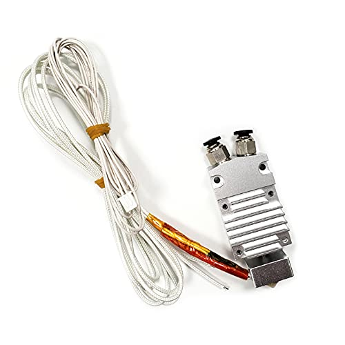 Zwbfu Kit De Extrusora Hotend,2 en 1 salida Hotend Kit de extrusora de doble color con termistor de alambre calentador boquilla de latón de 0,4 mm 24 V para impresora 3D modelo 2E