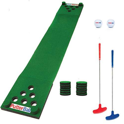 PutterBall Golf Pong Game Set The Original - Includes 2 Putters, 2 Golf Balls, Green Putting Pong Golf Mat & Golf Hole Covers - Best Backyard Party Golf Game Set