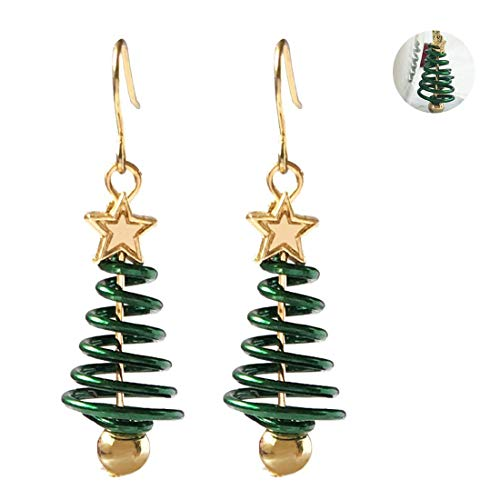 Christmas Earrings for Womens Party Wear, Fashion Green Christmas Tree Star Shape Pendant Xmas Dangle Earrings Jewelry Gift - 1 Pair
