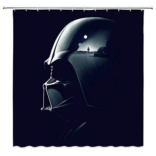 AMNYSF Duschvorhang mit Star-Wars-Film-Thema, Darth Vader, Rüstungsdekoration, schwarz-blauer Stoff, Badezimmer-Gardinen, wasserdichtes Polyester mit Haken, 177 x 177 cm