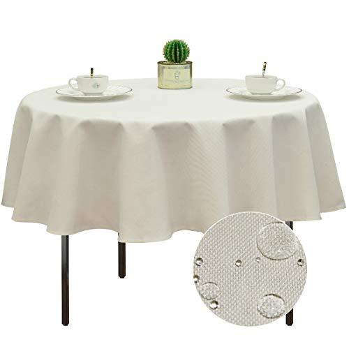 Balcony&Falcon Tischdecke Rund Tischdecke Abwaschbar 120cm Tischdecke Garten Leinen Tischtuch, Lotuseffekt Tischdecke Weiß, Rund 120cm