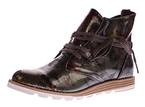 Damen Stiefeletten Kunst Leder Knöchel Schuhe Sun & Shadow Boots Grau Metallic Gr. 39