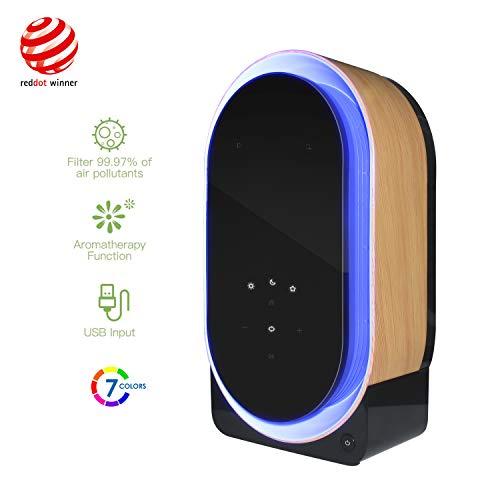 Desktop luchtreiniger, luchtreiniger met HEPA-filter en UVB-desinfectiemiddel, nachtlampje, aromatherapie-functie, geïntegreerde audio-elektronica