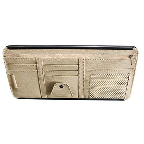 Ristiege - Bolsa de soporte para coche, portátil, con cremallera, para gafas de sol, varios bolsillos para coches, beige (Beige) - Ristiege
