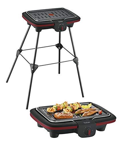 Tefal EasyGrill Contact Barbecue électrique sur pieds Chauffe rapide 2300 W Plaque contact avec Thermo-Spot Revêtement antiadhésif Thermostat réglable Cuisson homogène Facile à nettoyer CB902O12