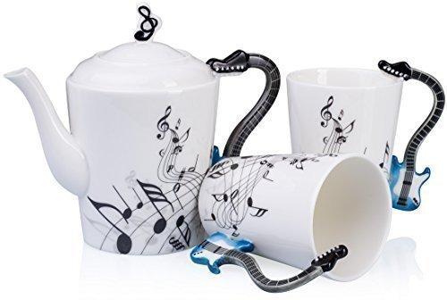 VENKON - Musical 3 Pezzi Servizio da Tè in Ceramica 'Tea For Two' a Disegno di Chitarra - una Teiera con Coperchio e due Tazze in Scatola Regalo