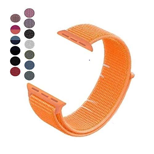Dapo-Correa Compatible con Watch Sport Loop 38/40mm 42/44mm, Correa de Reemplazo de Nylon Suave Transpirable Compatible con Series 5/4/3/2/1 (38/40mm, Naranja)