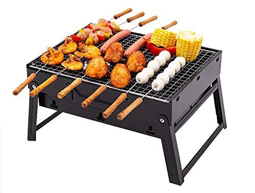 Draagbare BBQ-barbecues Opvouwbaar Lichtgewicht Zware stalen constructie Houtskoolbarbeque Brander Oven voor 1-4 persoon Buitenshuis Tuin Patio Partij Koken Picknick Zwart