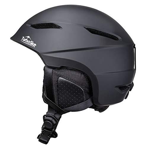 TurboSke Ski Helmet, Snowboard Helmet Snow Sports Helmet, Audio Compatible Helmet for Men, Women and Youth (M, Black)