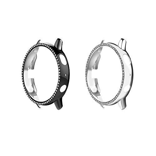 MoKo [2PZS Funda Protectora para Reloj de 40mm Compatible con Samsung Galaxy Watch Active 2, Carcasa de Cristal Reemplazo Diamantes Parachoques, Marco Duro Decoración Accesorio - Negro + Plata