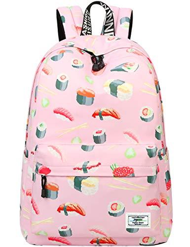 Mygreen Süße wasserdichte japanische Tasche Sushi gedruckt Kinder Bookbag Schultasche Mädchen Laptop Floral Backpack für Mädchen Girls Daypack (Sushi-Groß)