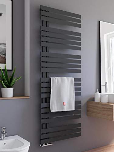 Schulte H02416960 Badheizkörper Breda, 169 x 60 cm, 838 Watt Leistung, Anschluss unten, Pearl schwarz, Heizkörper mit Handtuchhalter-Funktion