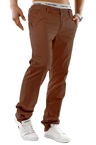 EGOMAXX Herren Chino Hose Stretch Jeans Slim Fit Designer Basic Stoffhose, Farben:Dunkelbraun, Größe Hosen:W28