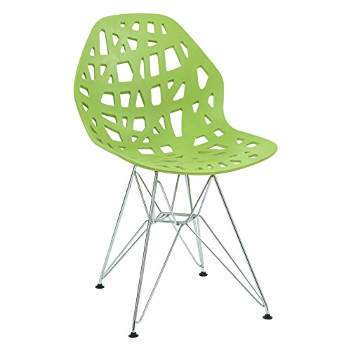 LeisureMod Akron Eiffel Side Dining Chair with Chrome Base in Green