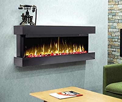 DIGITAL FLAMES Designer Electric Fire 50 Inch LED Premium Branded Black White Mantel Glass Wall Mounted Electric Fire Remote Control 1600Kw New 3 Colour Flame Lights 2020