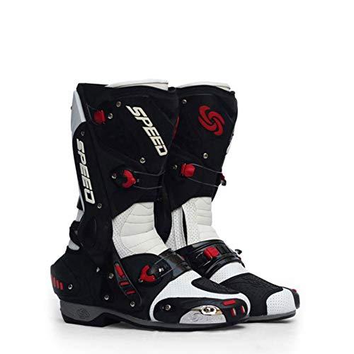 LDDOTR Stiefel Für Herren-Motorrad-Stiefel Anti Racing - Rutsch Anti - Kollisionsstoßdämpfung Motorrad-Reitstiefel Männer,Weiß,44