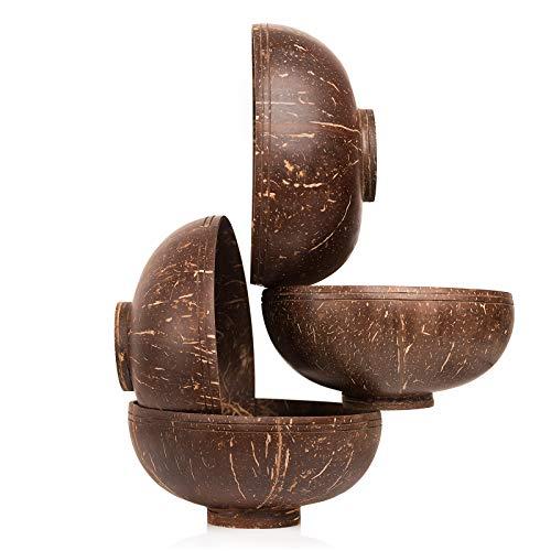 Ines & Hermes Kokosnuss Schalen mit Standfuß für Buddha Bowls oder Dekoration - Hand Made Coconut Bowls - 4 Set