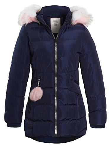 SS7 meisjes gewatteerde jas douchebestendige parka, imitatiebont, leeftijd 3 tot 16, zwart