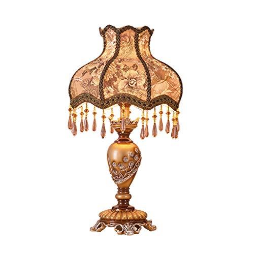 Lámpara de sobremesa retro europea dormitorio lámpara de noche cálida creativa clásica lámpara nostálgica lámpara del hogar E27 (Color : C)