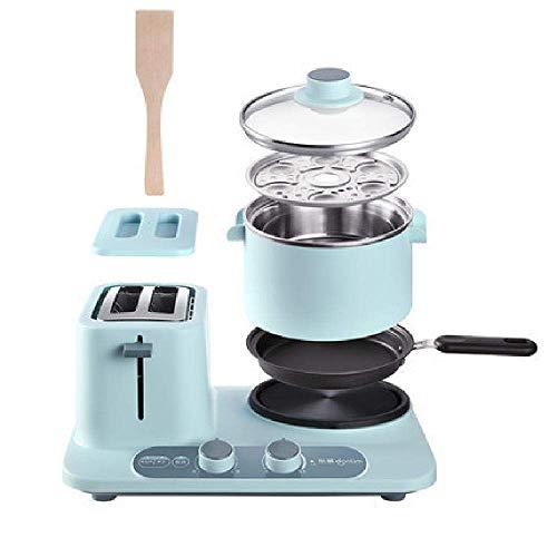 XIUYU Toaster Fahrer Elektroherd 2 in 1 Multifunktions-Haushalt Frühstück Maschine Brotmaschine Drehknopfsteuerung for die Bequeme Kochen, Blau (Color : Blue)