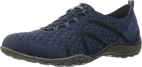Skechers Sport Women's Breathe Easy Fortune Fashion Sneaker,Navy Knit,8 M US