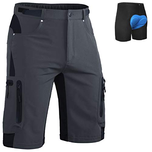 Ally Mens MTB Mountain Bike Short Bicycle Cycling Biking Riding Shorts Cycle Wear Relaxed Loose-fit Dark Grey